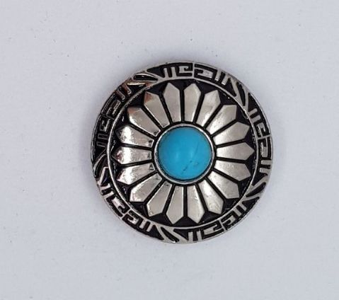 30mm Silver & Turquoise Concho
